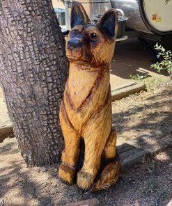 german shepard wood carving